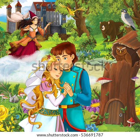 Cartoon scene with beautiful prince and princess in front of some castle - sorceress in the background - standing in the forest - illustration for children