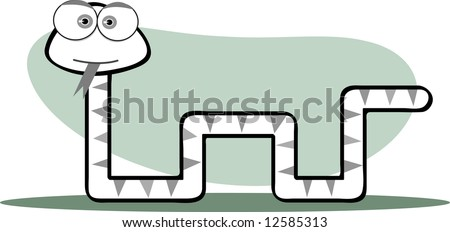 Cartoon Snake with Big Eye in Black and White