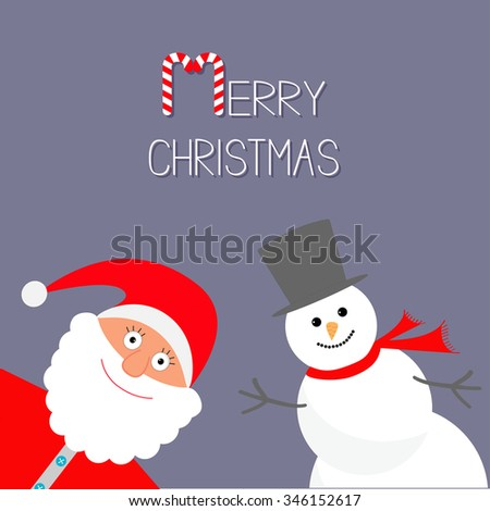 Cartoon Snowman and Santa Claus. Violet background. Candy cane. Merry Christmas card. Flat design