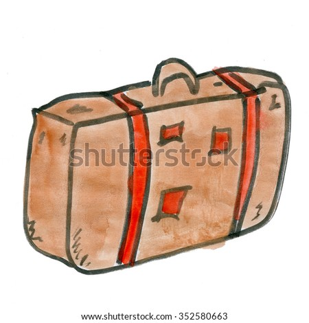 cartoon suitcase isolated on a white background