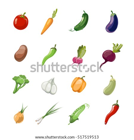 Cartoon vegetables . Set of icons vegetable in color style, illustration of vegetarian vegetables