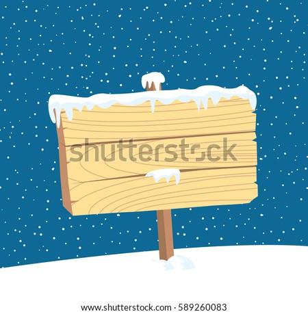 Christmas Winter Snow Blank Wooden Sign Stock Vector