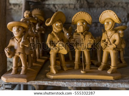 CARUARU, BRAZIL - NOVEMBER 20: Clay sculptures by master craftsman Vitalino used as decoration in Caruaru, Pernambuco, Brazil on November 20, 2016.