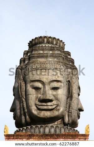 Carved faces of Buddha in Cambodia