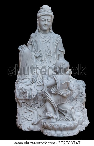 Carved marble statue of the god of China.