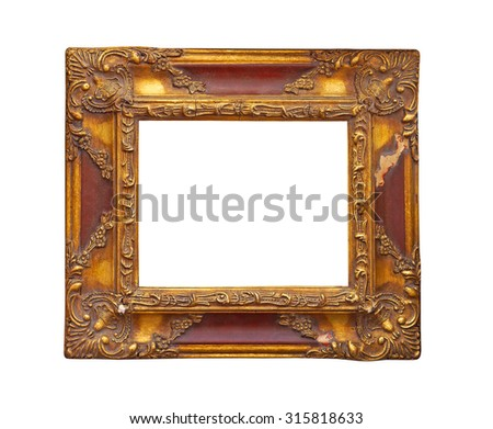 Carved rustic frame isolated on white