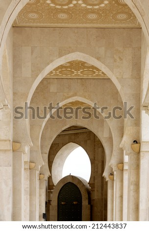 CASABLANCA, MOROCCO - JULY 23:Part of King Hassan II Mosque on July 23, 2014 in Casablanca, Morocco. It is the largest Mosque in the country