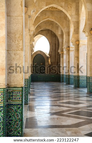 CASABLANCA, MOROCCO - SEPTEMBER 10, 2014: Detail from Mosque Hassan II in Casablanca, Morocco. Hassan II Mosque is the largest mosque in Morocco and Africa and the 7th largest in the world.