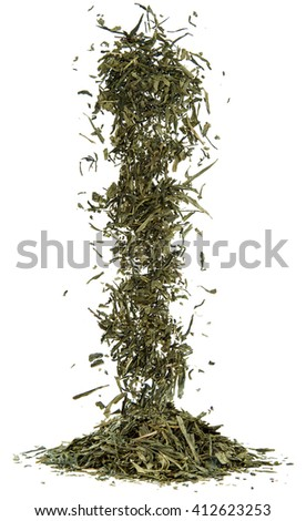 cascade of green tea of dried leaves