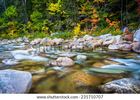 Cascades and autumn color on the Swift River along the Kancamagus Highway in White Mountain National Forest, New Hampshire.