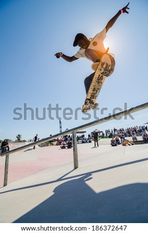 CASCAIS, PORTUGAL - APRIL 6 2014: Zenildo Guilherme during the 4th Stage of the DC Skate Challenge by Fuel TV.