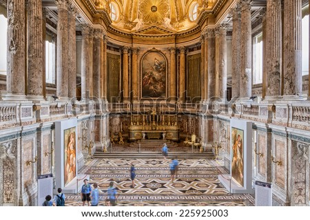 CASERTA, ITALY - JULY 21, 2013: Royal Palace of Caserta, residence of the Bourbon Kings of Naples. Indoor view. Italy.