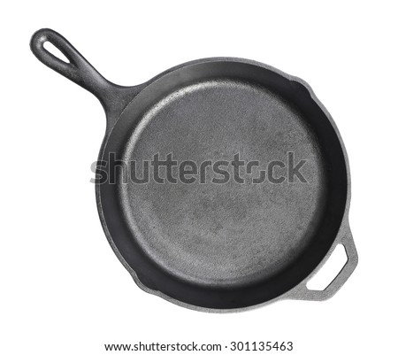 Cast iron frying pans Isolated on white background
