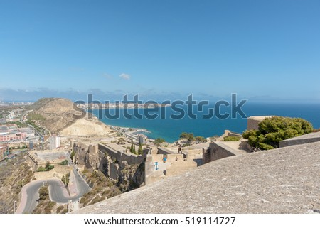 Castell Santa Barbara Alicante Spain Mediterranean view from historic castle.