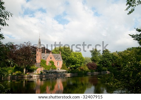 Castle at the Minnewater in Bruges Belgium