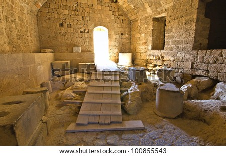 Castle of Lindos at Rhodes island in Greece. Interior view of the main entrance-gate
