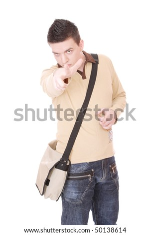 casual guy with bag isolated over white background