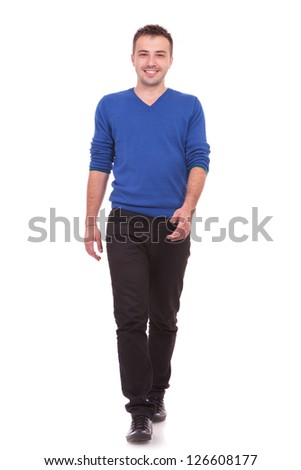 Casual Man is walking towards the camera on White