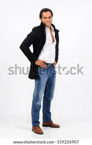 Casual young man posing isolated in white