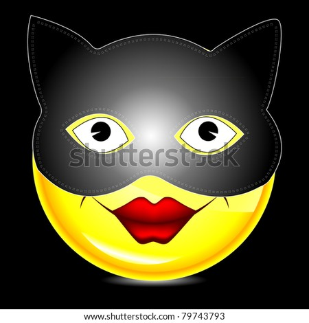 Black Cat Darkness Glowing Eyes Sinister Stock Vector