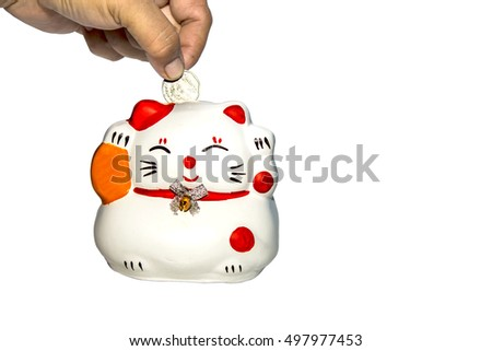 Cat piggy bank to save money in the future.