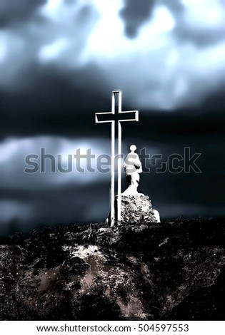 Catholic cross. negative filter