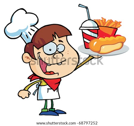 Caucasian Chef Boy Carrying A Hot Dog, French Fries And Drink