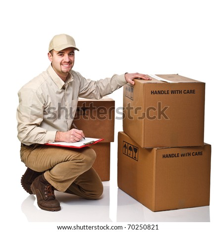 caucasian delivery man at work isolated on white