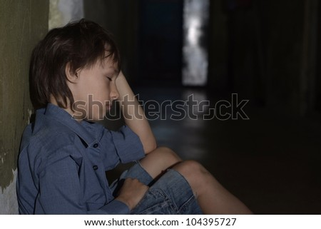 Caucasian male frustrated sitting in a deserted place