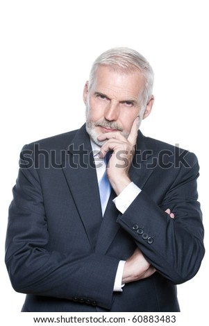 caucasian senior businessman portrait pensive isolated studio on white background
