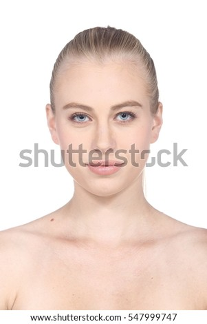 Caucasian Woman after make up. no retouch, fresh face with acne, skin moles, wart then good base and foundation cosmetic, id photo