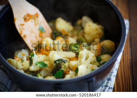 cauliflower with fried Brussels sprouts