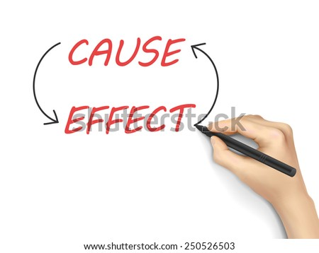 cause and effect written by 3d hand over white background