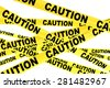 Caution Yellow Tape Strips on a white background - stock photo
