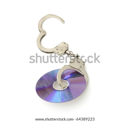 Cd with handcuffs isolated on white