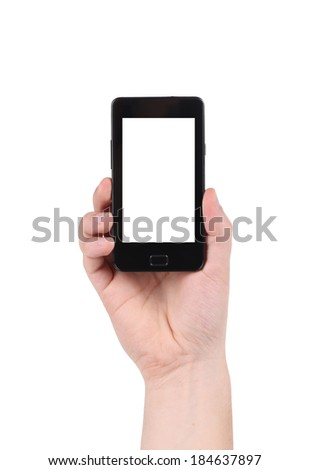 Cell phone in man's hand. Isolated on a white background.