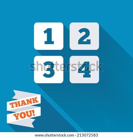 Cellphone keyboard sign icon. Digits symbol. White flat icon with long shadow. Paper ribbon label with Thank you text.
