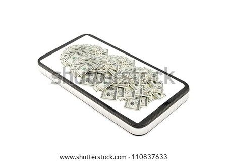 cellphone tablet with money on it