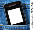 Cellular phone in jeans pocket,  put your own text on the screen - stock photo