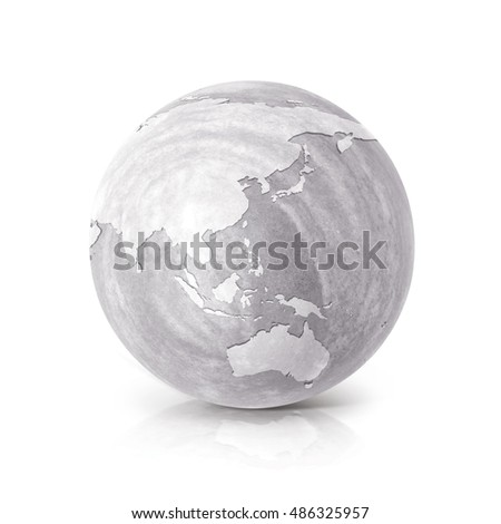Cement Asia & Australia world map 3D illustration on white background