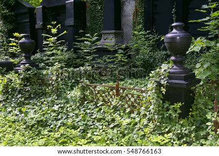 Cemetery, stil-life with black thumbstones
