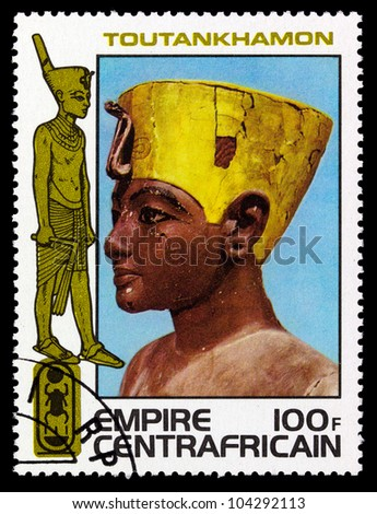 CENTRAFRICAIN - CIRCA 1978: A stamp printed in The Central African Empire showing the image of a sculpture, series is devoted to Egyptian Pharaoh Tutankhamun, circa 1978