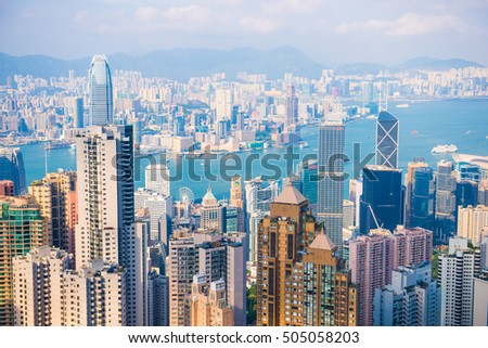 Central, Hong Kong - September 21, 2016 : Skyscraper view from the Peak Tower, landmark of Hong Kong