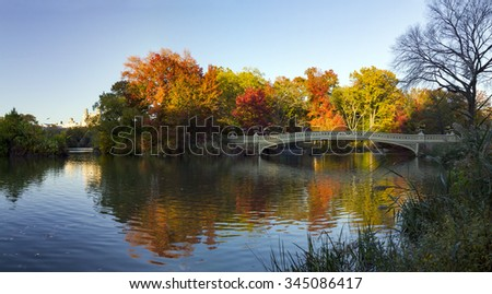 Central Park Colorful Fall Panoramic Landscape Scene in Manhattan, New York City
