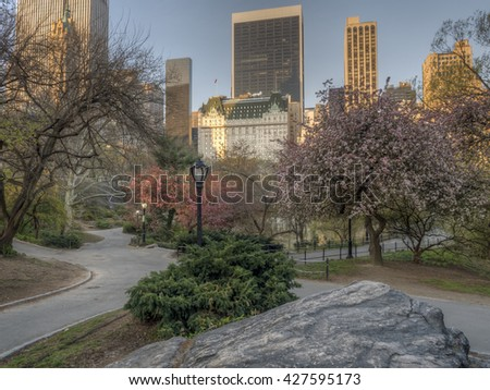 Central Park, New York City in early spring with flowers and trees in bloom