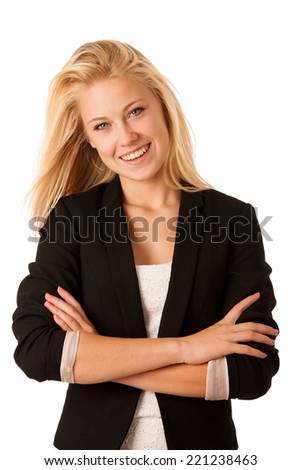 CEO business woman isolated over white background