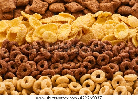 Cereals breakfast collection. Corn pads, rings and cornflakes.