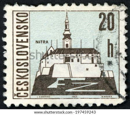 CESKOSLOVENSKO - CIRCA 1965: post stamp printed in Czechoslovakia (Czech) shows Nitra castle on mountain in Slovakia from views of towns; Scott 1347 A516 20h blue black, circa 1965