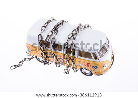 Chained van on white background