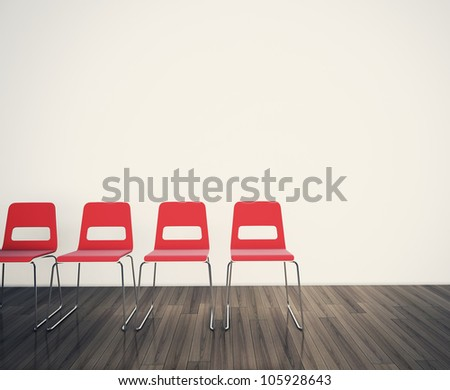 chairs to face a blank wall 3d image.